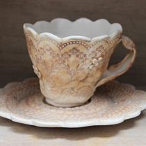 Sepia lace teacup and saucer