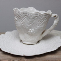 White lace teacup and saucer