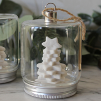 Glass jam jar with Christmas tree