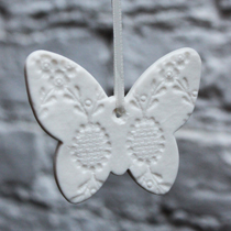 White lace butterfly Christmas decoration