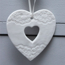 White cut out heart decoration