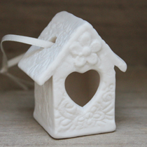 Little white lace bird house hanging decoration