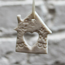 White lace heart house Christmas decoration