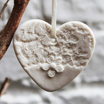 White lace heart Christmas decoration