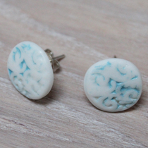 Wedgewood blue inlay button stud earrings