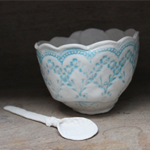Wedgewood blue lace sugar bowl and spoon