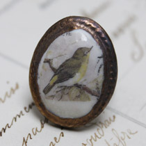 Yellow breasted bird cameo ring