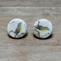 Yellow breasted bird stud earrings