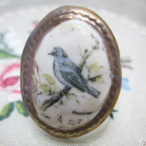 Bluebird cameo ring